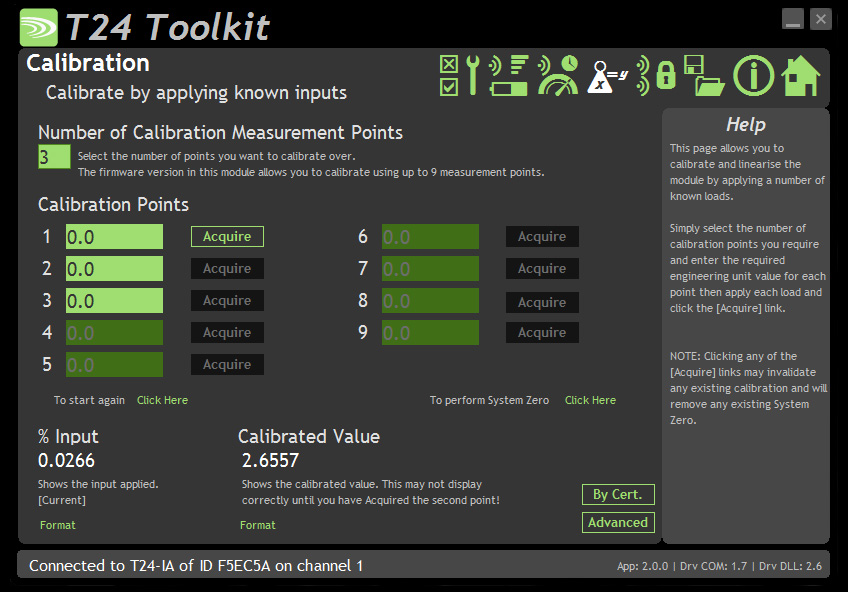 calibration software screenshot